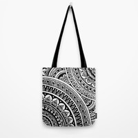 Black & White Boho Tote Bag by Sarah Oelerich
