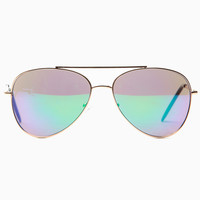 Purple Reflector Aviator Sunglasses