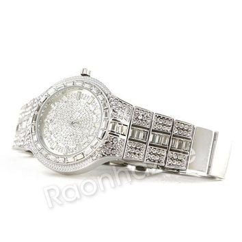 LMFA8C Iced Out 14K WhiteGold Square Stone Watch G52