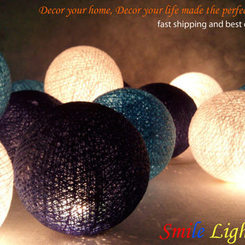 20 x Darkblue blue and white color cotton balls string light with 3 m. wire and adapter for room and party decoration