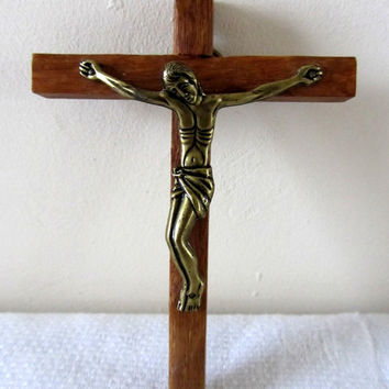 Small French Vintage Wall Crucifix Cross Wood Brass