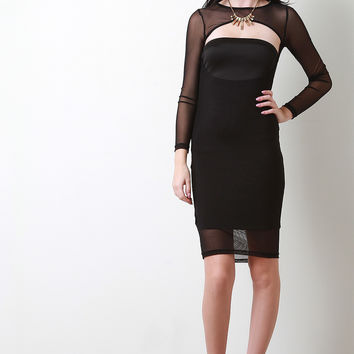 Cutout Front Mesh Bodycon Dress