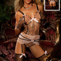 Strappy Floral Sheer Open Bust Teddy