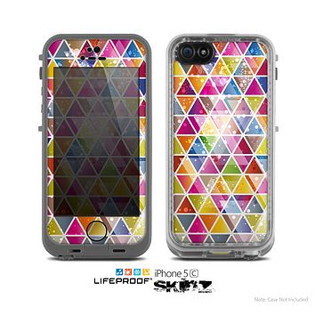 The Colorful Abstract Stacked Triangles Skin for the Apple iPhone 5c LifeProof Case