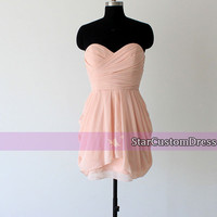 Blush Bridesmaid Dress Sweetheart Bridesmaid Dress Short Bridesmaid dress Strapless Bridemaid Dress