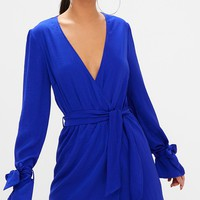 Cobalt Satin Wrap Cuff Detail Shift Dress