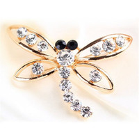 Brooch, Gold, Crystals, Dragonfly, Dragonfly Story, New Golden Crystals Dragonfly Brooch
