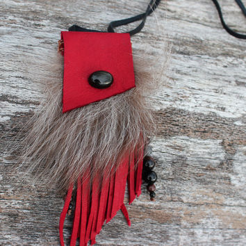 Red Medicine Bag with Fox Fur, Obsidian, Goat Leather Small Necklace Pouch, Fringed Beaded Shamanic Satchel