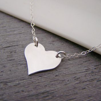 Heart Charm Sterling Silver Necklace Simple Jewelry / Gift for Her - Valentines Necklace - Heart Jewelry - Everyday Necklace