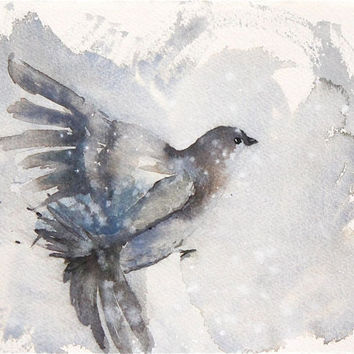 original watercolor painting small, flying bird in the snow, winter, wings, brown, gray