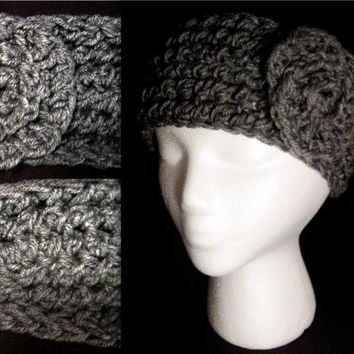 Crochet Heather Grey or Off White Headband Ear Warmer with Spiral Rose Flower (Medium)