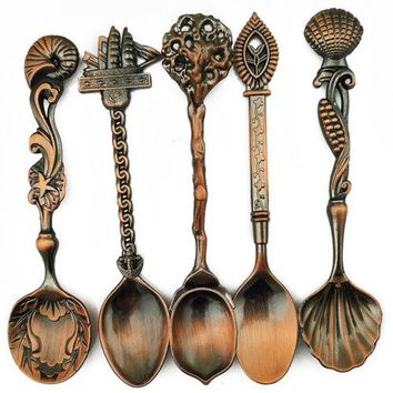 5 Pcs Alloy Vintage Royal Style Bronze Carved Small Coffee Spoon Flatware
