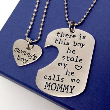 Mommy & Son Inspirational Heart Charm Dog Tag Necklace Set