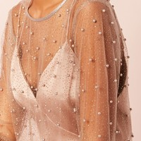 Sheer Faux Pearl Top