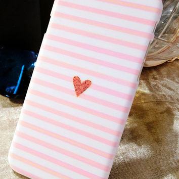 Heart Pink Stripes Case for iPhone 4 4s 5c 5 5s 6 6s 6Plus 6sPlus
