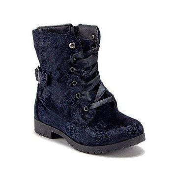 Girl's BCT-12K High-Top Velvet Lace Up Combat Motorcycle Boots