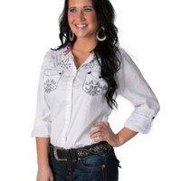 Roar Women's Ikat Fight It White with Embroidery & Crystals 3/4-Long Sleeve Western Shirt