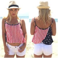 Stars & Stripes Split Back Jersey Tank