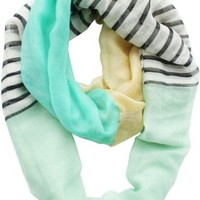 Vivian & Vincent Soft Light Weight Stripe Mosaic Sheer Infinity Scarf (Turquoise-Khaki-Azure):Amazon:Clothing