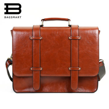 "BAGSMART New Women Messenger Bags Vintage PU Leather Handbag Crossbody Satchel Briefcase Bolsas Femininas for 14.7"" Laptop"