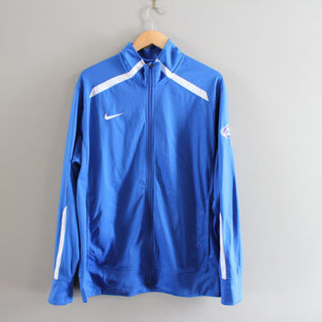 US Free Shipping Nike Zip Up Sweatshirt Blue NFL Jersey Nike Football Jacket Sport Active Wear Hipster Vintage 90s  Size  L #T105A