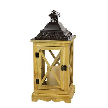 "7"" Black Metal Criss Cross Lantern with Bisque LED Lighted Flameless IndoorOutdoor Pillar Candle"