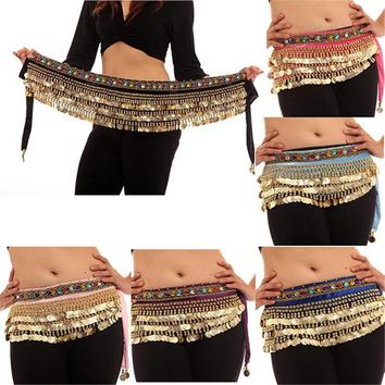 Women Belly Dance Wrap Bellydance Coin Belt Velvet Tribal Dance Costume Danza Del Vientre Belly Dance Hip Scarf Gypsy Wings