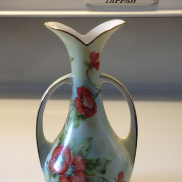 Antique Bavarian Poppies Vase Hand Painted Porcelain Urn Style Artist Signed Art Nouveau Early 1900s