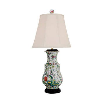 """Beautiful Floral and Bird Porcelain Vase Table Lamp 34"""""""