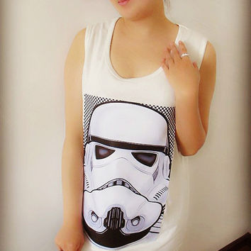 Stormtrooper Helmet Tee Shirt , Crop Top Shirt , Tank T Shirt , Tunic Shirt , Women Sexy Hipster Shirt , Custom Photo Shirt
