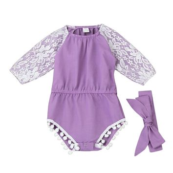 Baby girls romper toddler Baby Girls Lace Splice Long Sleeve Clothing Romper Jumpsuit baby clothes