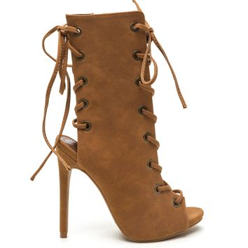 CADY LACE UP BOOTIE - TAN