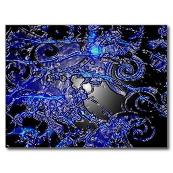 Silver Blue Swirl Abstract Postcard