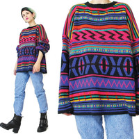 80s Colorful Striped Sweater Rainbow Striped Abstract Sweater Womens Ski Sweater Pink Purple Winter Abstract Knit Pullover Jumper (L/XL)