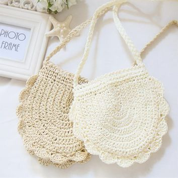 charming 2017 beach bohemian straw shoulder bag women mini crochet fringed messenger bags flowers crossbody bag bolsa feminina