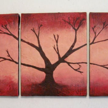 "tree of life artwork fine art wall sculpture Painting Texture Abstract ""Red Wood"" 48 x 20 "" 3 panel paintings original wall hanging kunst"