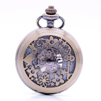 Hollow Key Rabbit Alice in Wonderland Fob Pocket Chain Men Women Hand Wind Mechanical Pocket Watch Skeleton Gears Bronze
