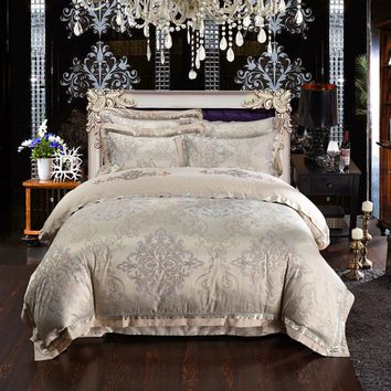 Luxury palace jacquard bedding set king size duvet cover bed sheet white wedding bedding Europe bed linen bedspread home textile