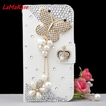 LaMaKase Bling Handmade Glitter Rhinestone Pearl Leather Flip Wallet Protective Case for Iphone for SamsungS3 S4 S5 S6 S7 S8P N5