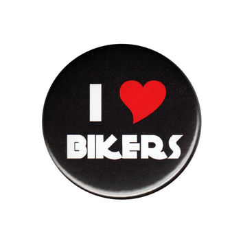 I Love Bikers Pinback Button Badge Pin 44mm 4.4cm 1.75""