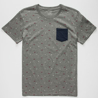 Blue Crown Geo Banks Mens Pocket Tee Grey  In Sizes