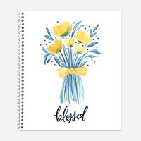 Blessed Notebook, Waterproof Cover, Bible Journal, School Supplies, Office Supplies, Flower Journal, College Ruled Notebook
