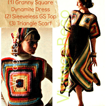 3 CROCHET PATTERNS Instant Download Pdf Hippie Boho Granny Square Dynamite Dress Granny Square Top Triangle Scarf 1970s Vintage Beso