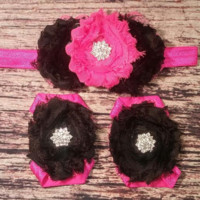 Hot Pink and Black with Pink Lace Edging Baby Girl Headband and Barefoot Sandal Set!