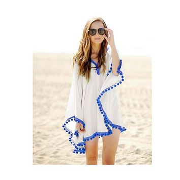 White Pom Pom Beach Cover-Up