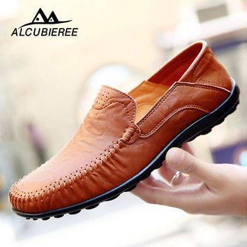 Driving Shoes Men Handmade Genuine Leather Moccasin Black Shoes Casual High Quality Leather Loafers Men Shoes 2019 Big Size