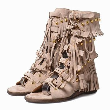 Mid Calf Gladiator Studded Fringe Sandals / Beige
