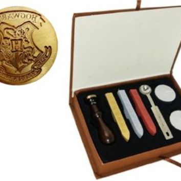 New Vintage Harry Potter Hogwarts School Badge Wax Seal Stamp Sticks Melting Spoons Candles Set