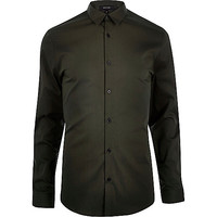 River Island MensKhaki green stretch long sleeve shirt