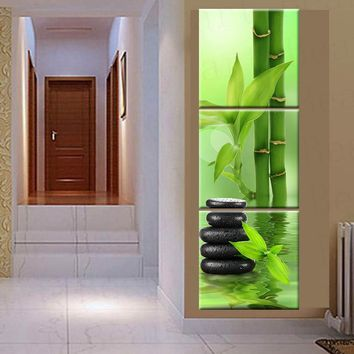 3 Panel Wall Art Home Decoration Canvas painting Prints Pictures For Living Room Spa Stone and green Bamboo